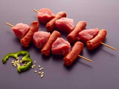 Pincho Ternera y Chistorra. Carne parrilla - horno- plancha. BROCHETA