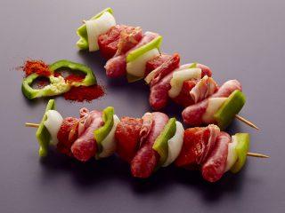 Brocheta Cerdo Duroc. Carne parilla - plancha - horno. BROCHETA